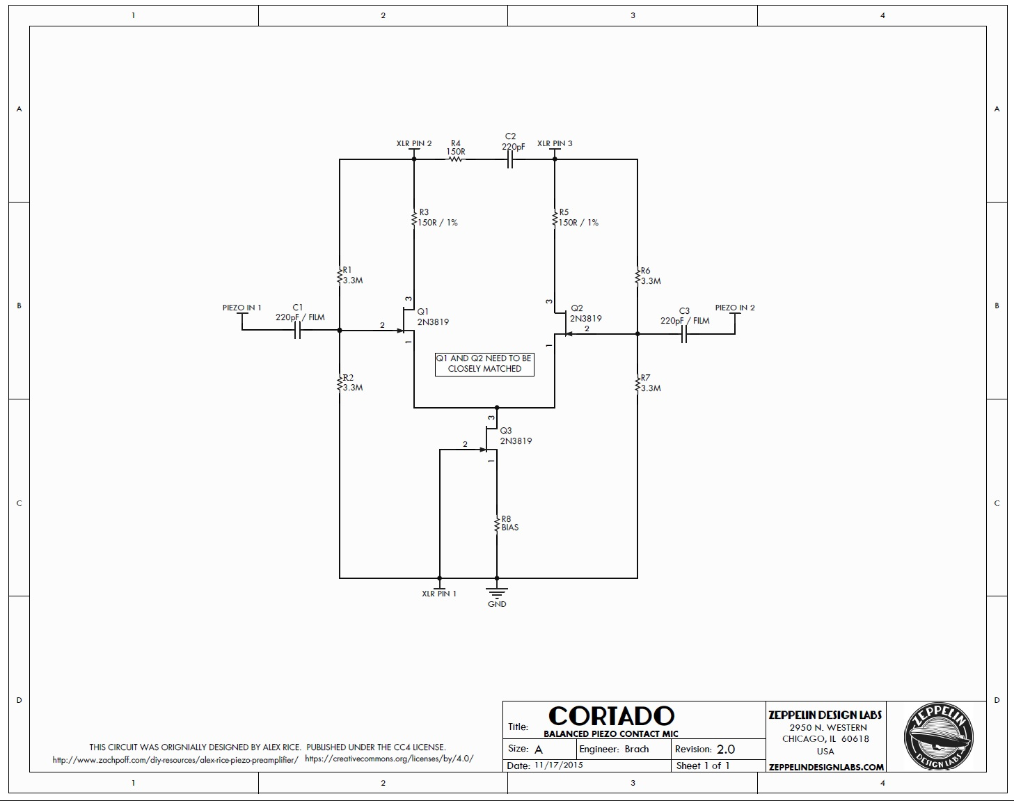 Cortado Buffered Balanced Piezo Preamp Schematic
